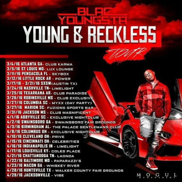 Blac Youngsta, Young & Reckless Tour