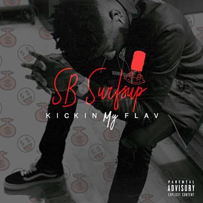 Male Rapper Album Cover With Red Letters and Cartoon Head