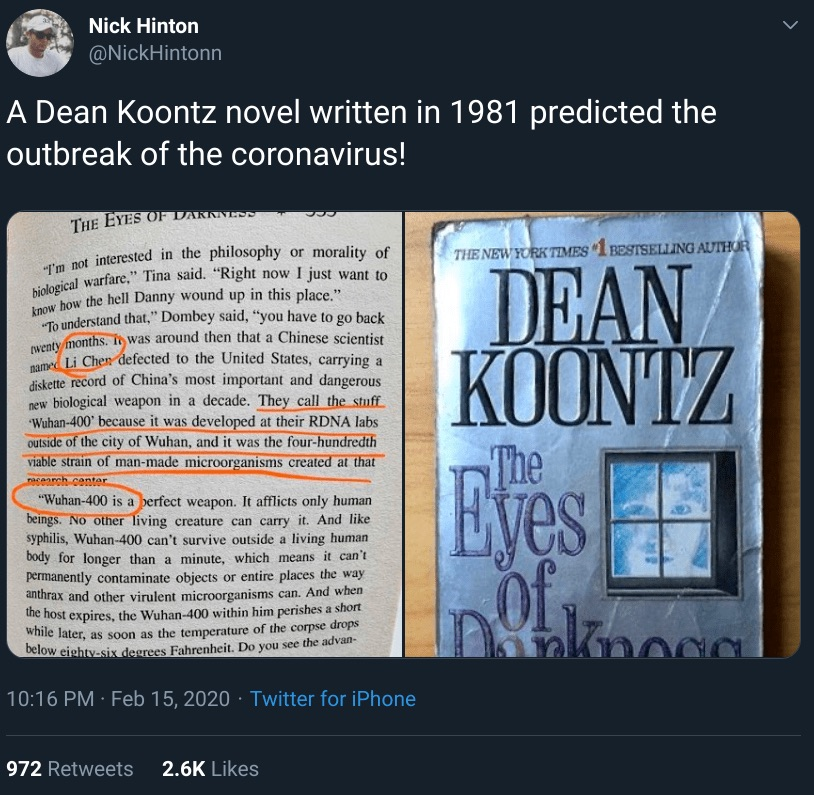 Open book with passage circled detailing coronavirus prediction by Dean Koontz